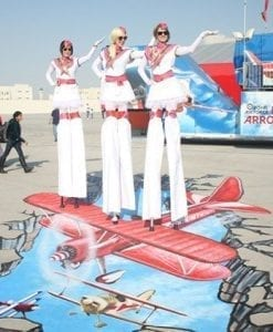 air hostess stilt performers to hire