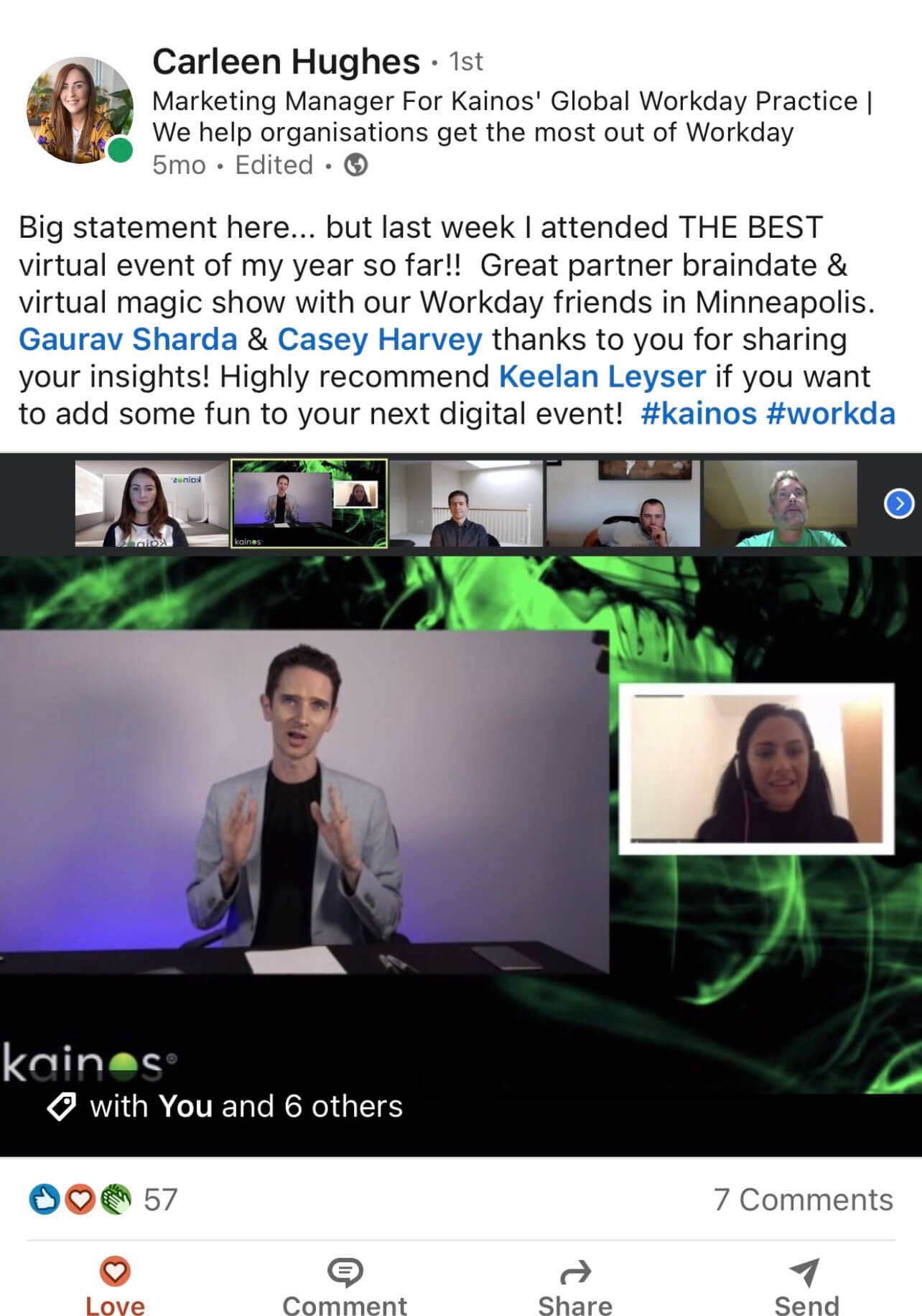 Zoom Magician Social Testimonial