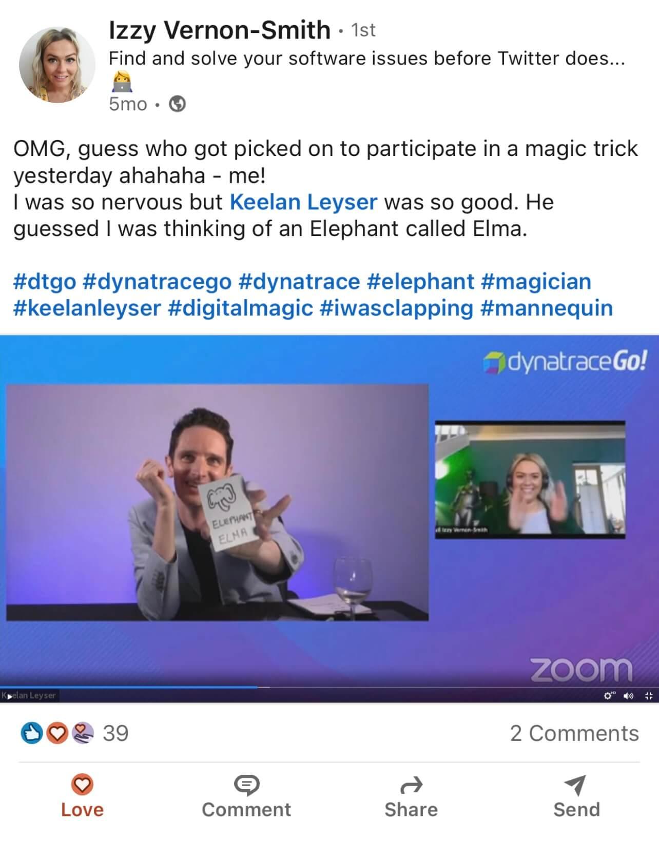 Zoom Magician Corporate Testimonial